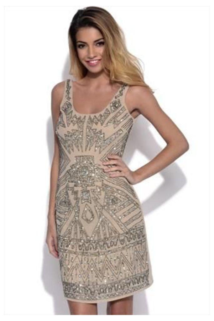 Luxe Beige Embellished Dress