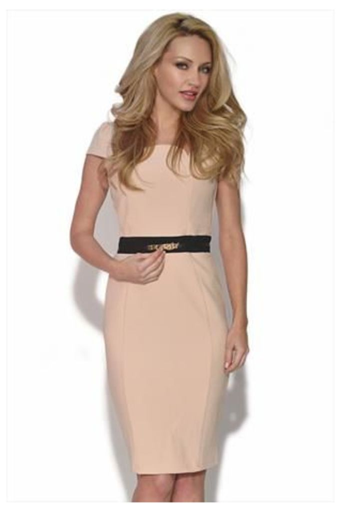 Flattering Cream Cap Sleeve Dress