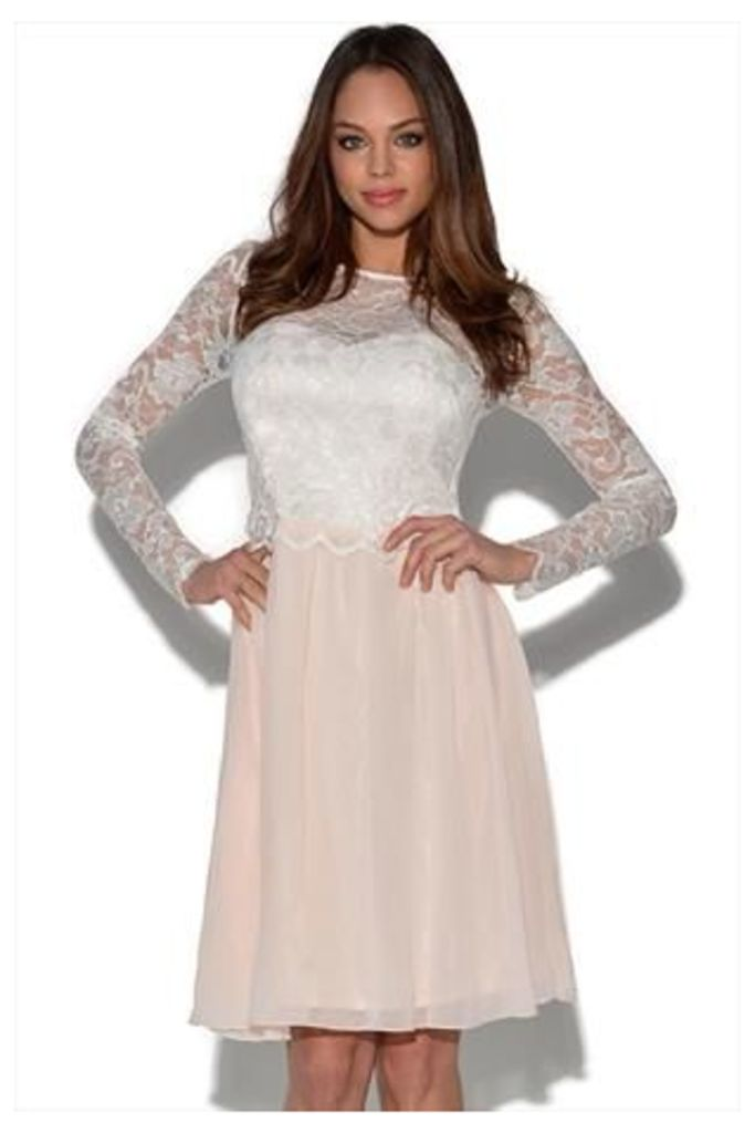 Little Mistress Lace Detail Long Sleeved Dress