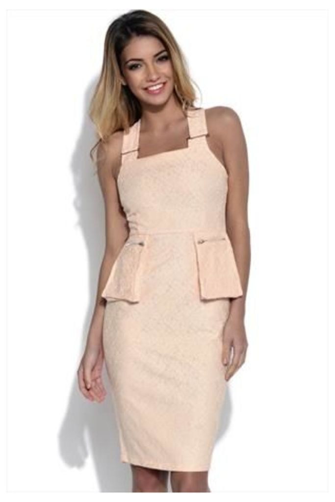 Lavish Alice Blush Lace Peplum Midi Dress