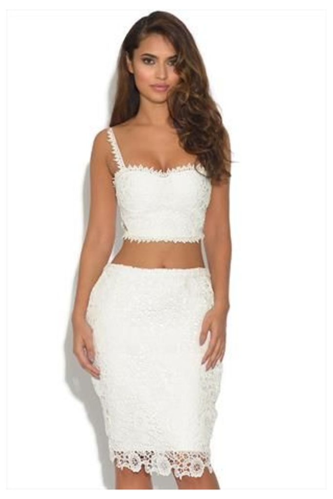 Luxe White Lace 2 Piece Crop Top And Bandage Skirt Set