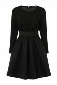 Black Jacquard Top Mini Dress