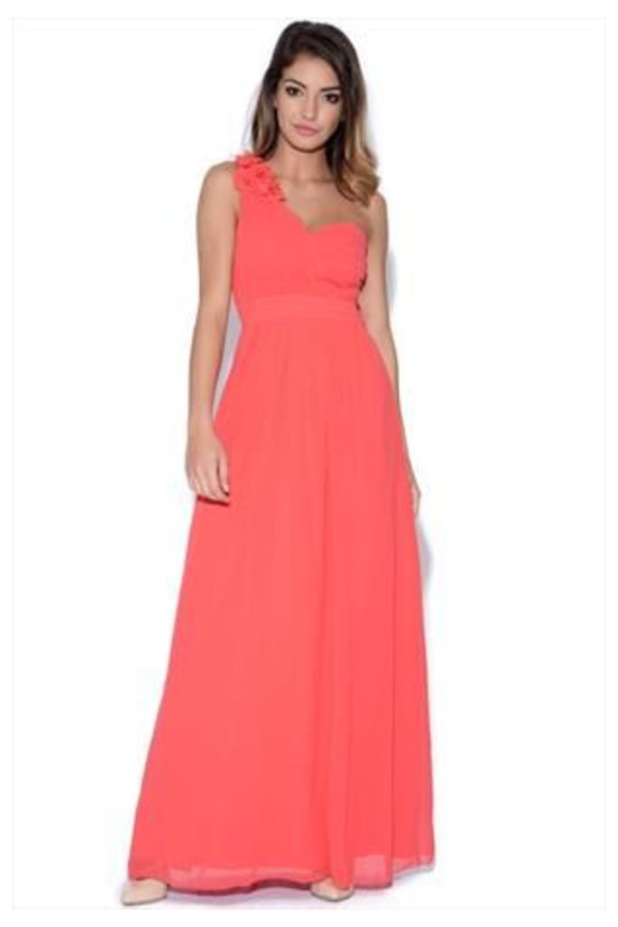 Little Mistress Coral Corsage Pleated Maxi Dress