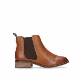 Womens Tan Leather Flat Ankle Bootscarvela, 2.5 UK