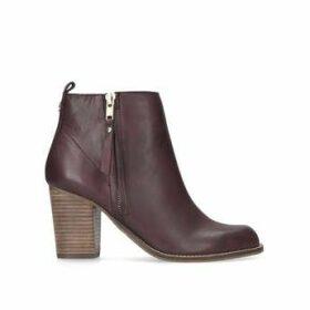 Womens Wine Leather Mid Heel Ankle Bootscarvela, 8 UK