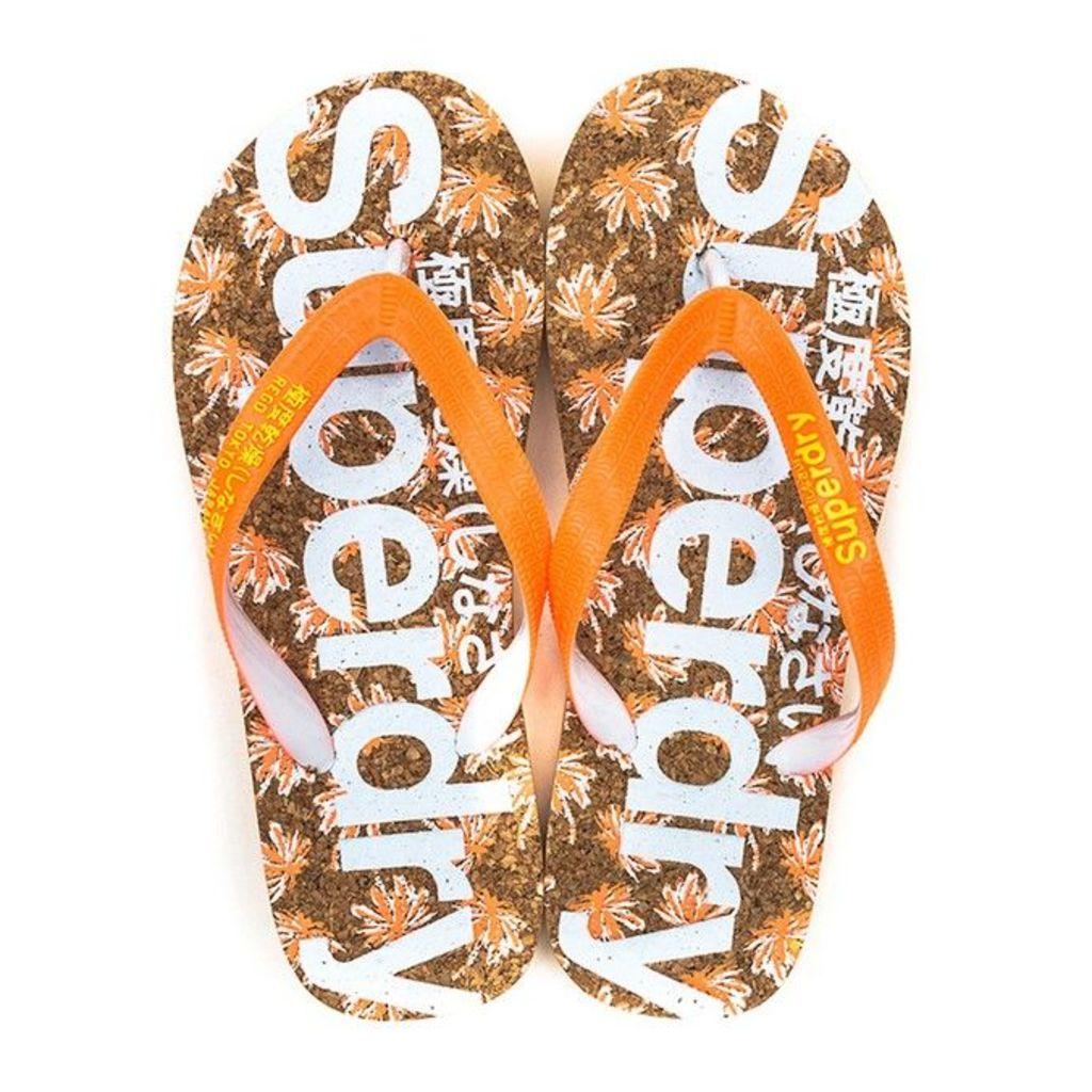 Superdry - Printed Cork Flip Flop - Womens - Coral Palm - Large (Size 7-8 uk)