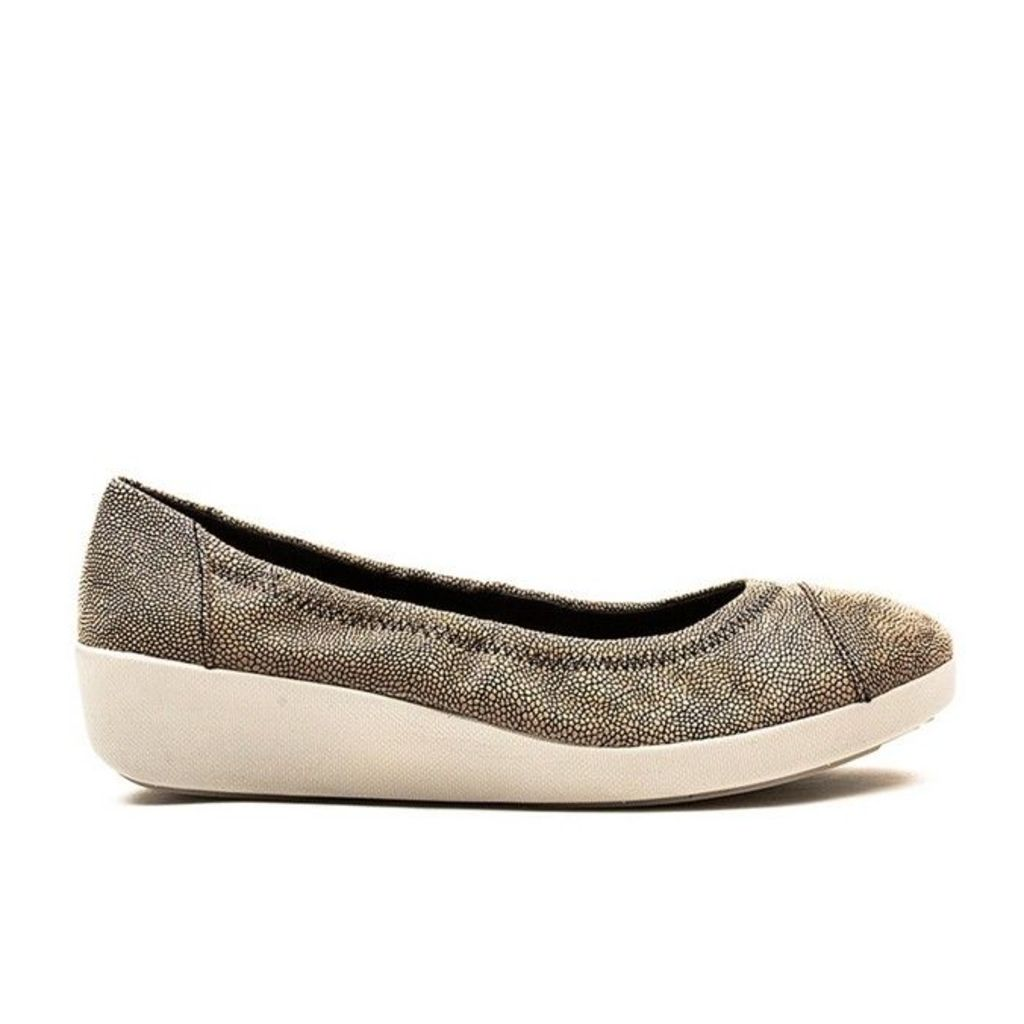 FitFlop� - F-Pop� Ballerina - Stone Pebbleprint Leather - 5 uk