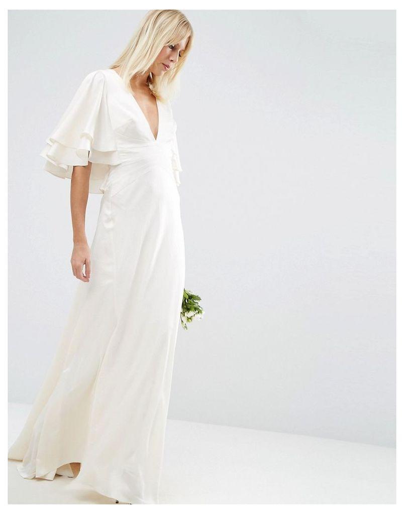 ASOS BRIDAL Flutter Sleeve Panelled Maxi Dress - White