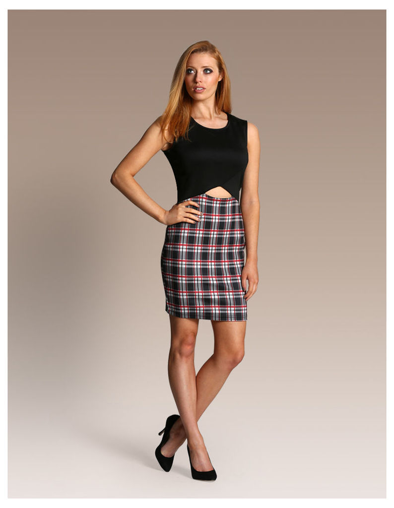 Cut Out Check Bodycon Dress-14