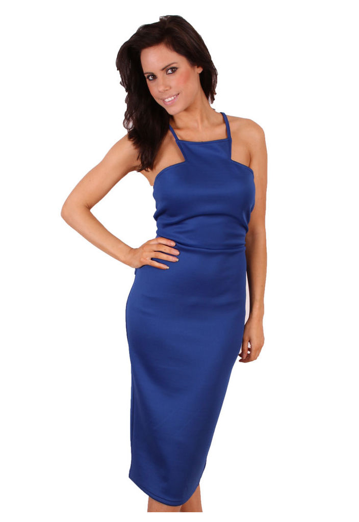 Madam Rage Midi Peplum Dress-blue-14
