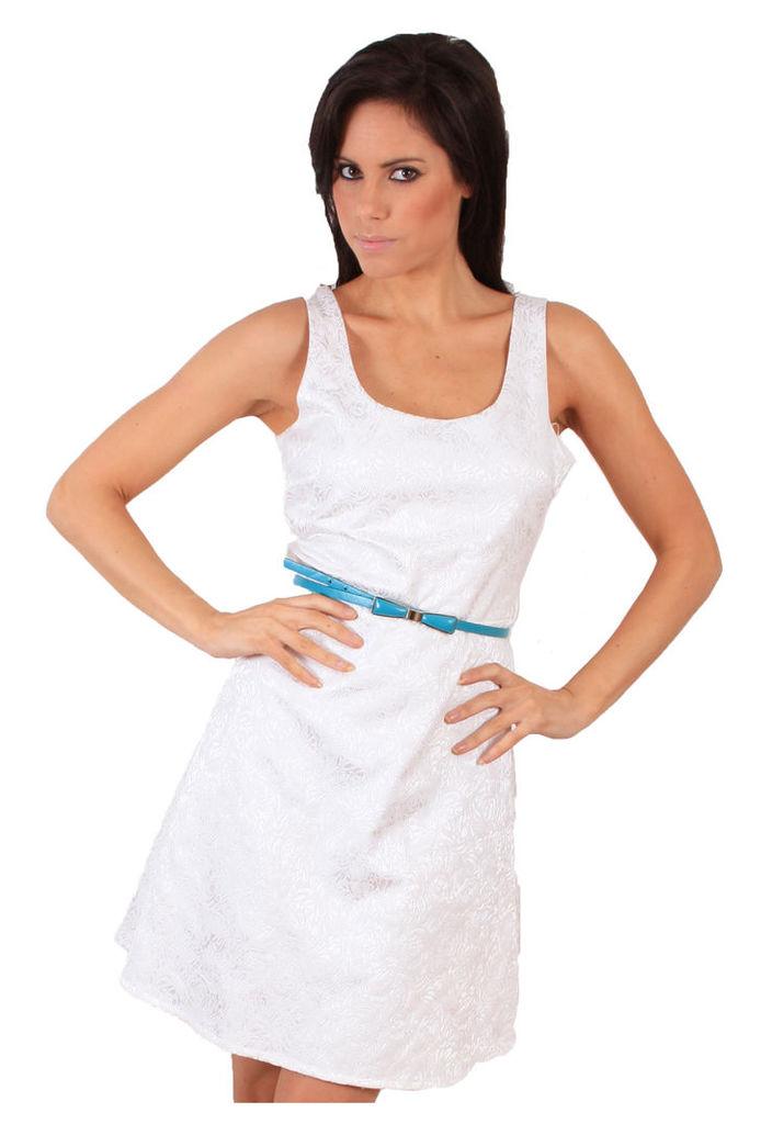 Madam Rage White Belted Skater Dress-14
