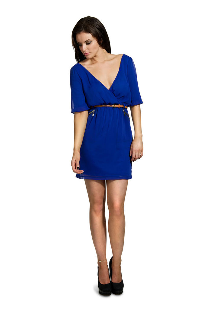 Madam Rage Zip Pocket Wrap Dress-blue-16