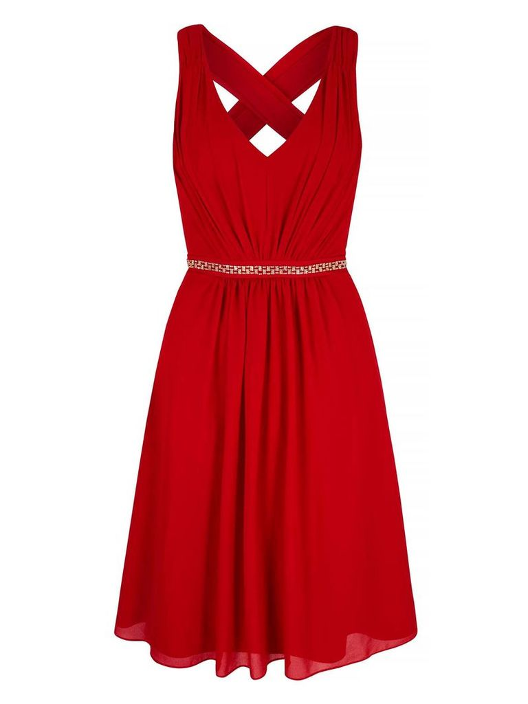 Yumi Midi Party Dress With Diamantes, Red