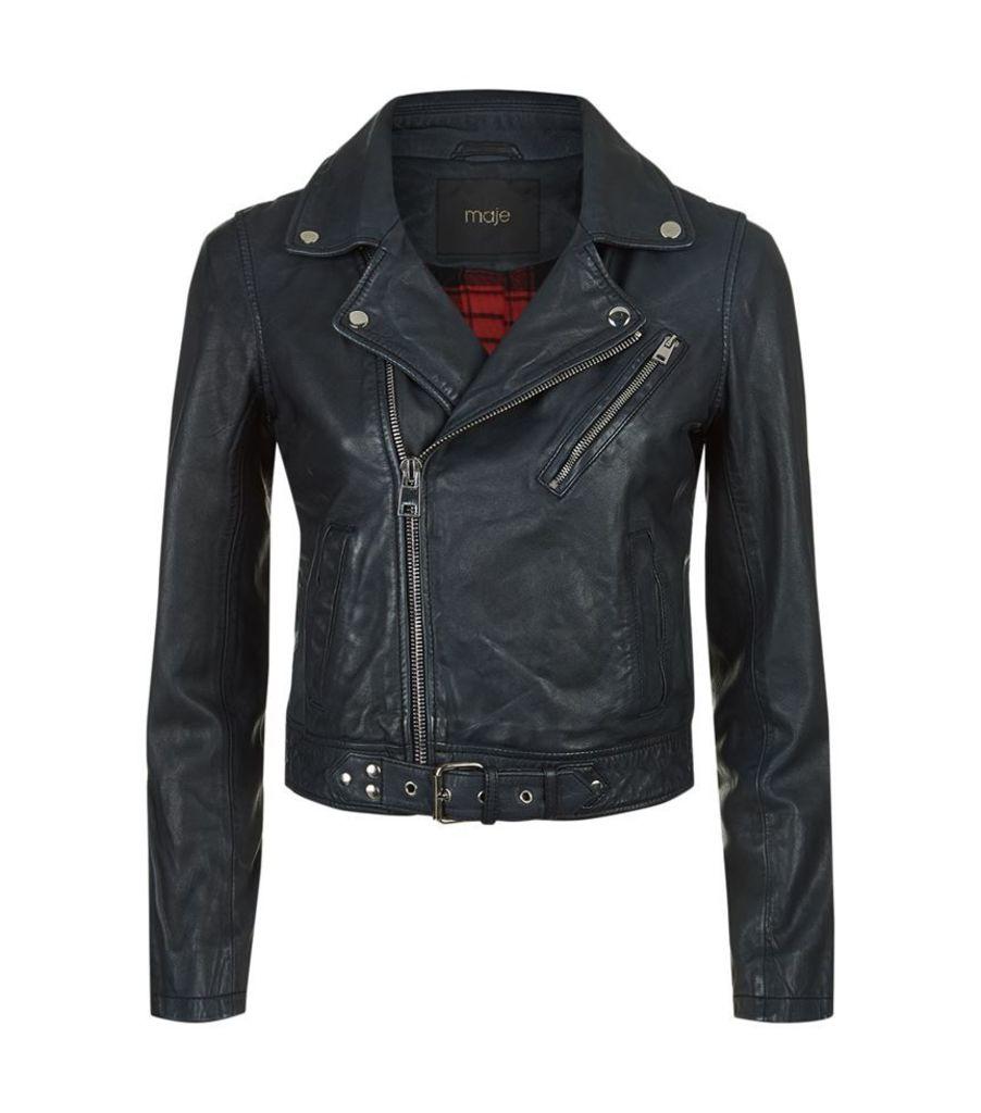 Maje, Bostep Leather Biker Jacket, Female