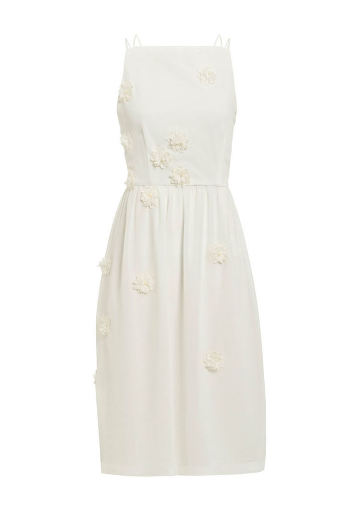 Elise Ryan Skater Dress With Scattered Floral Detail In Ivory