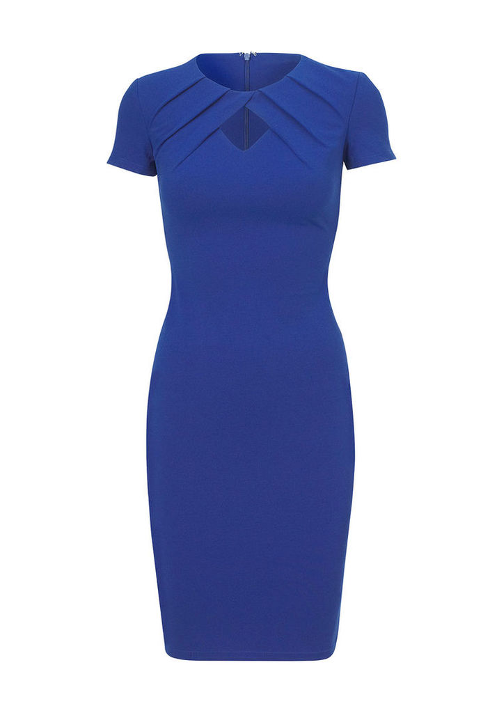 Sistaglam by Lipstick Boutique Cathy Pleated Keyhole Bodycon Dress in Blue