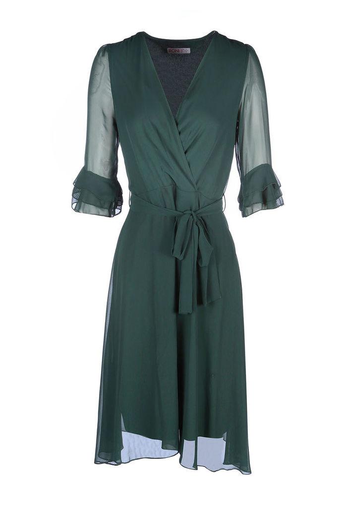 Zibi London 3/4 Sleeve Wrap Dress in Dark Green