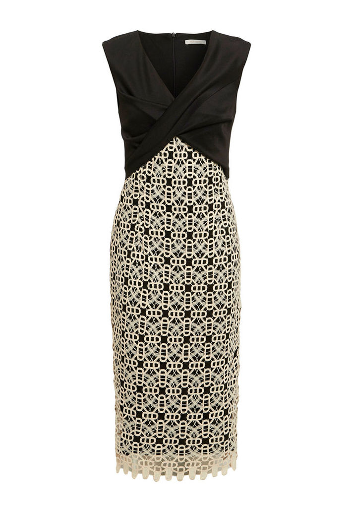 Explosion London Midi Dress With Crochet Lace Detail