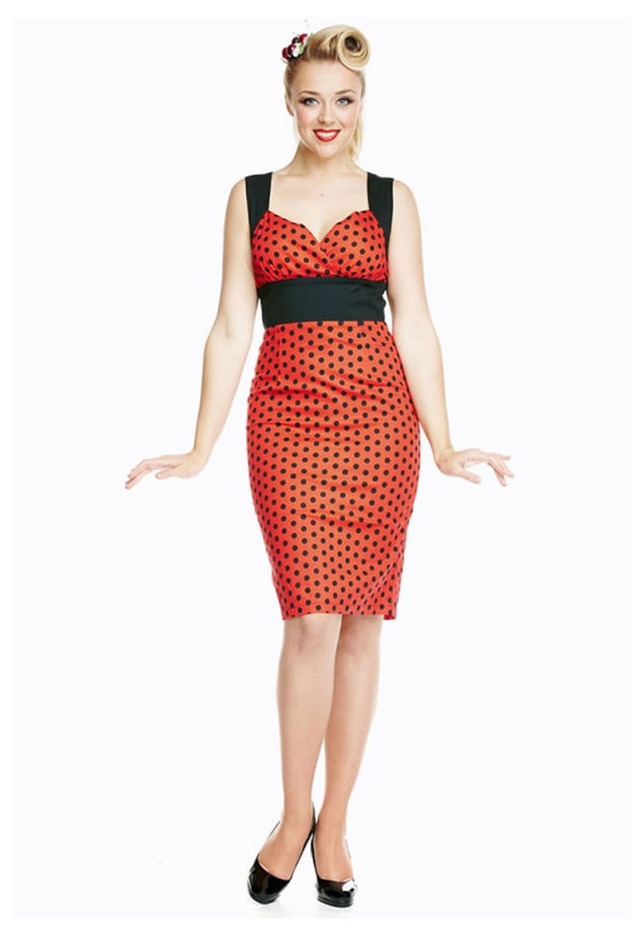 Lindy Bop Lacey Polka Dot Wiggle Dress in Red and Black