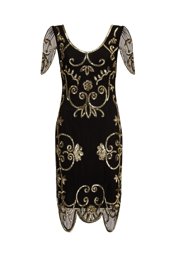 Gatsbylady Rosemary Black and Gold Flapper Dress