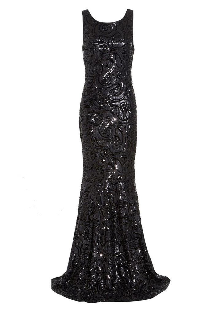D.Anna Black Swirl Sequin Embellished Maxi Dress