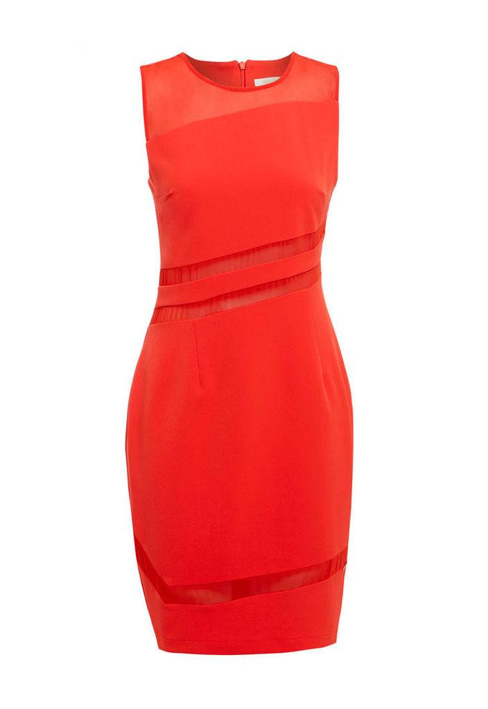 Explosion London Mesh Mini Bodycon Dress in Red