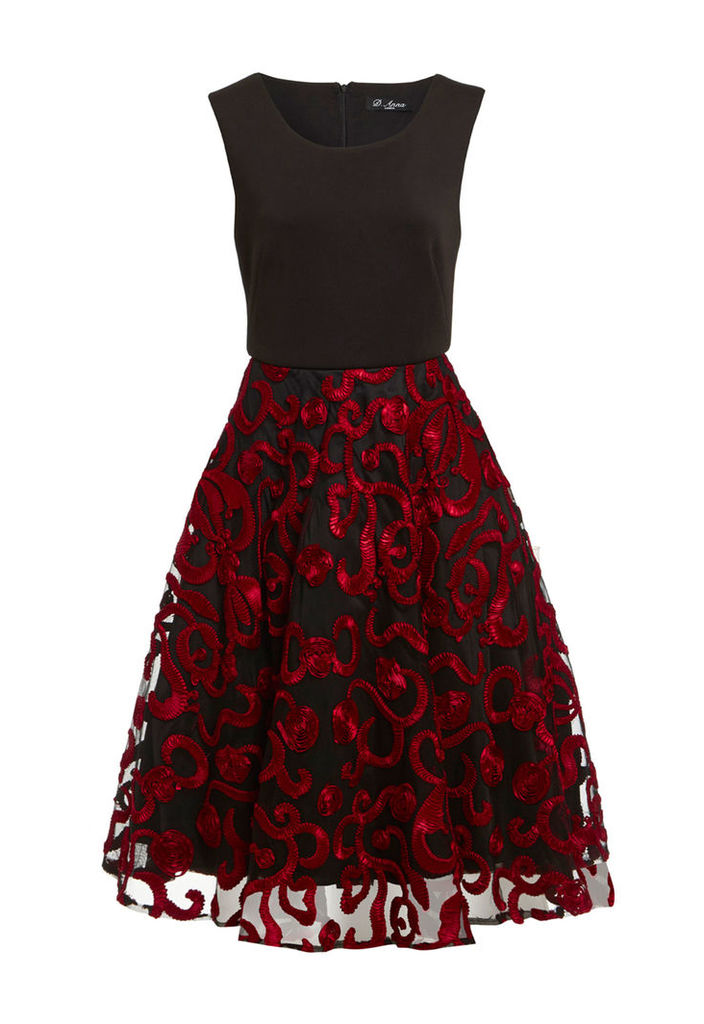 D.Anna Prom Dress With Mesh Overlay In Red And Black
