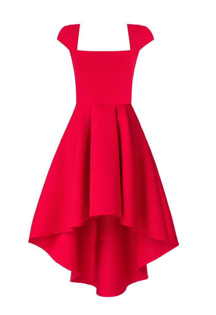 Goddiva Square Neckline Asymmetric Red Dress