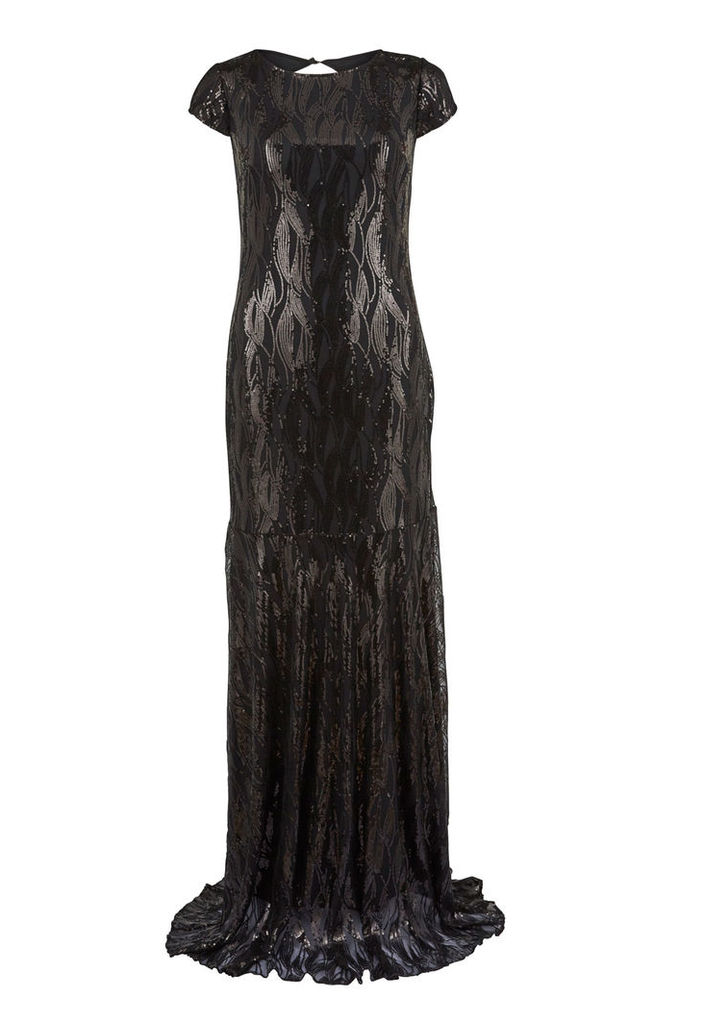 Ruby Ray Sequined Maxi Dress in Black
