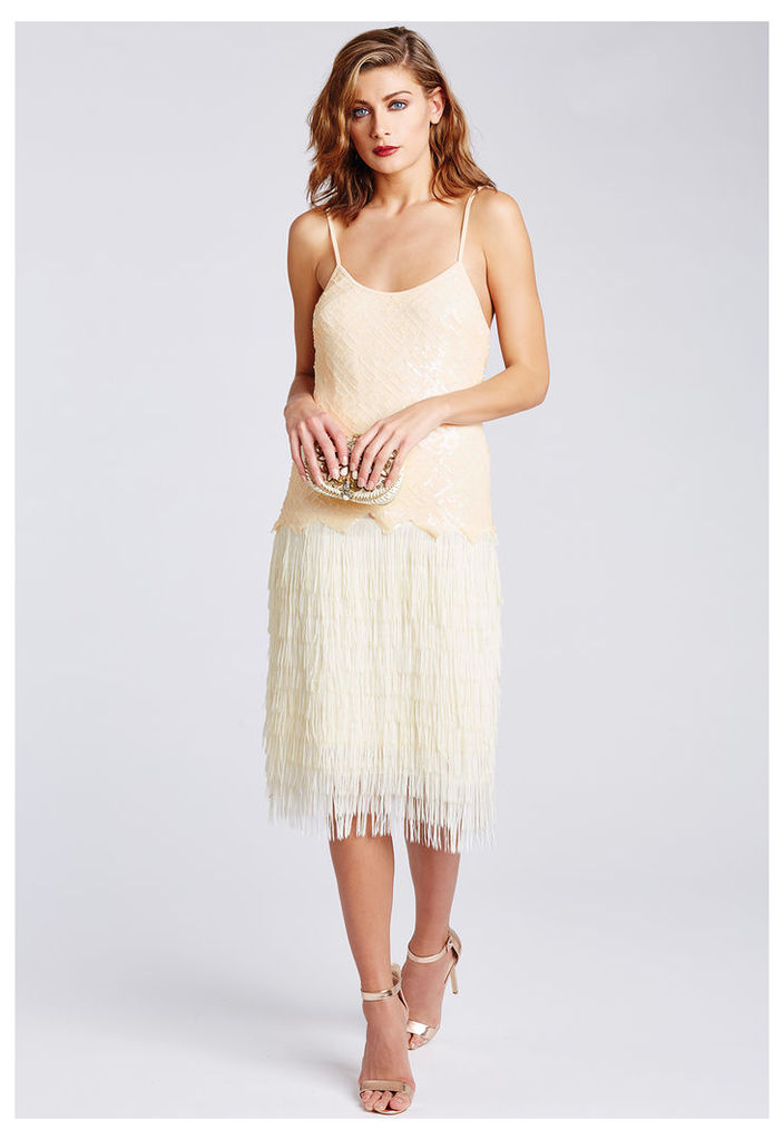 D.Anna Nude Sequin and Fringe Flapper Dress