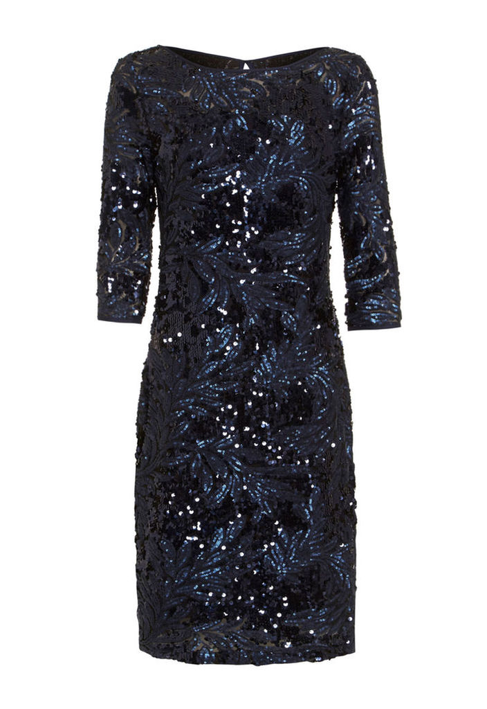 D.Anna Navy Sequin Embellished 3/4 Sleeve Midi Dress