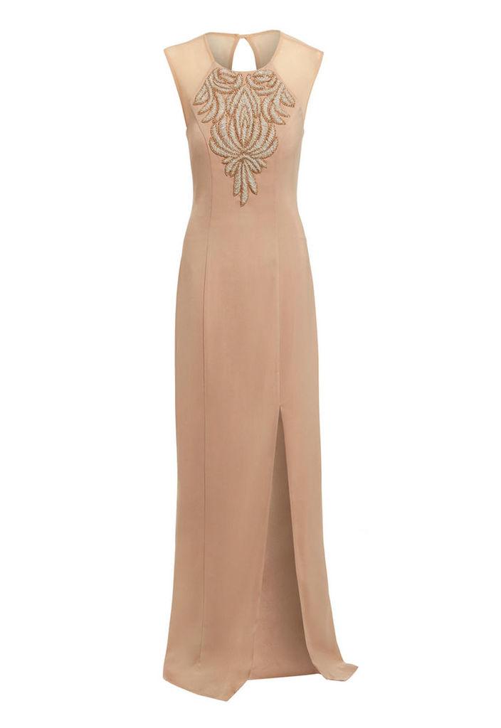 D.Anna Embellished Evening Dress In Gold