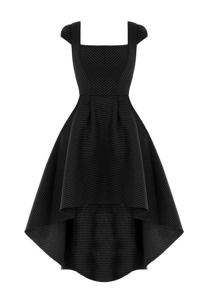 Goddiva Square Neckline Asymmetric Black Dress