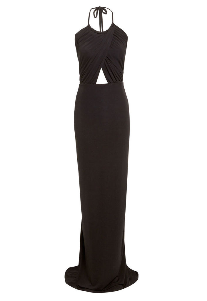 Honor Gold Erin Maxi Dress with Train in Black