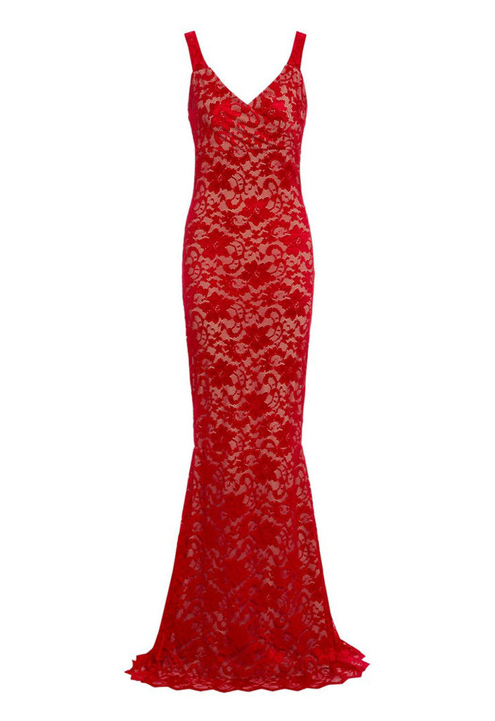 Honor Gold Gabriella Red Nude Lace Maxi Dress