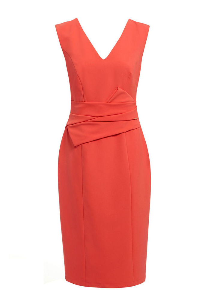 Explosion London Pleat Detail Dress in Coral