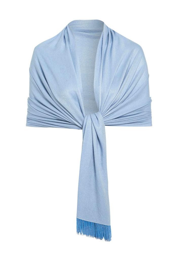 Aftershock London Pasha Beaded Tassel Silk Pashmina Wool Shawl in Powder Blue