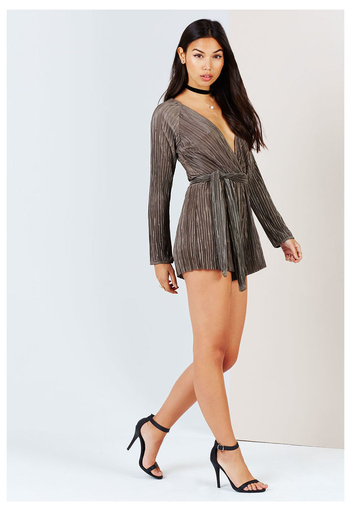 Little Mistress Pleated Crossover Playsuit in Khaki