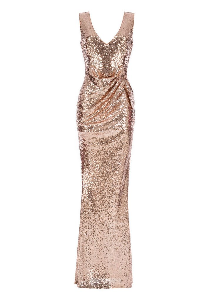 Goddiva V-Neck Sequin Maxi Dress with Bow Detail in Champagne