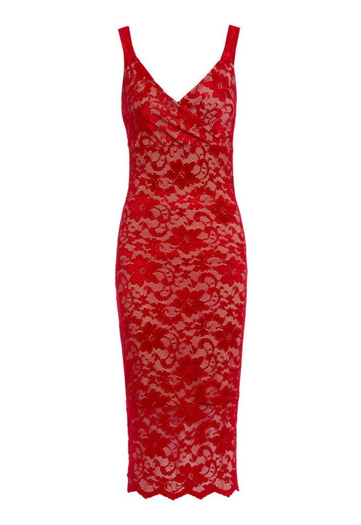 Honor Gold Gabriella Red Nude Lace Midi Dress