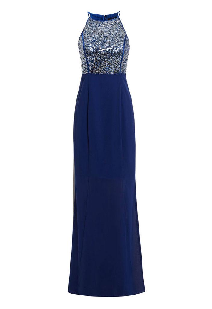 D.Anna Blue Evening Dress With Sequin Embellishment
