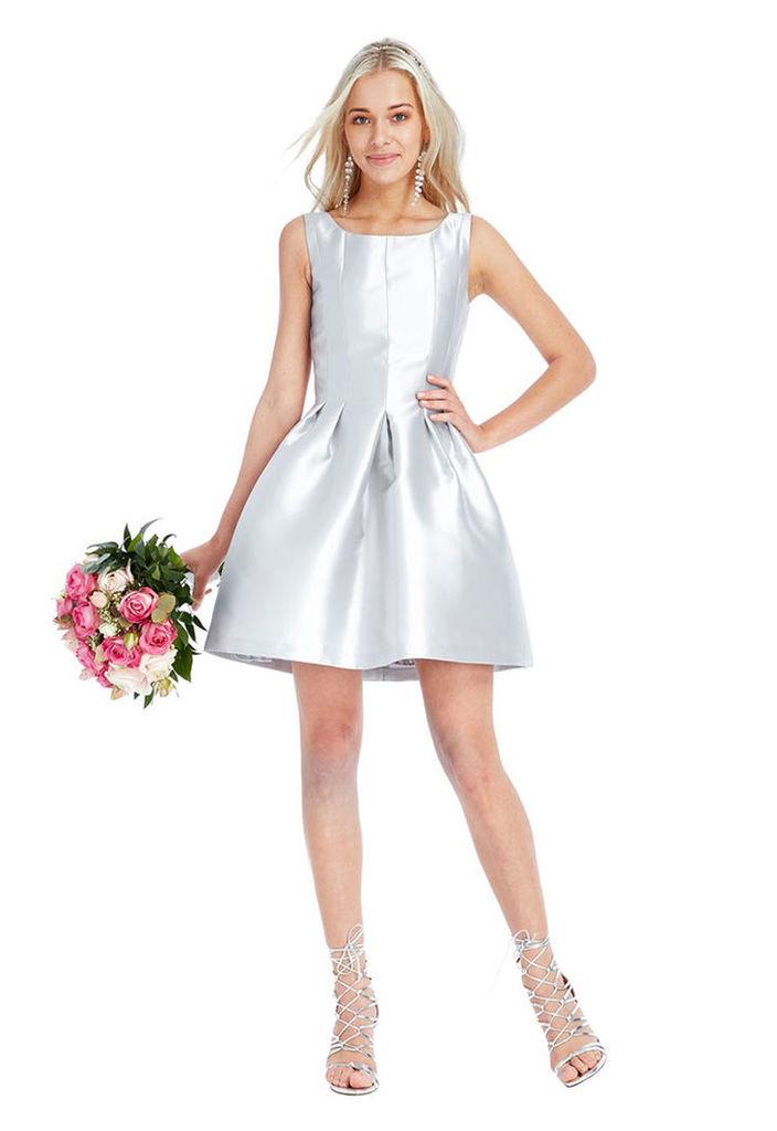 Goddiva Sleeveless Skater Dress in Silver