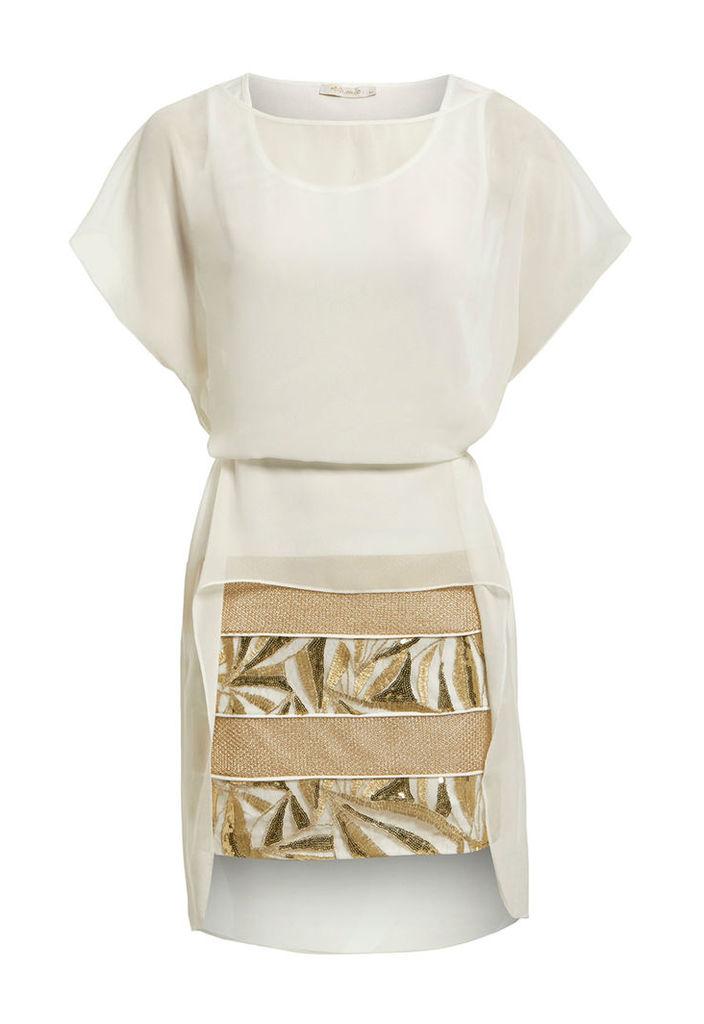 Explosion London Chiffon Dress with Gold Embellished Skirt