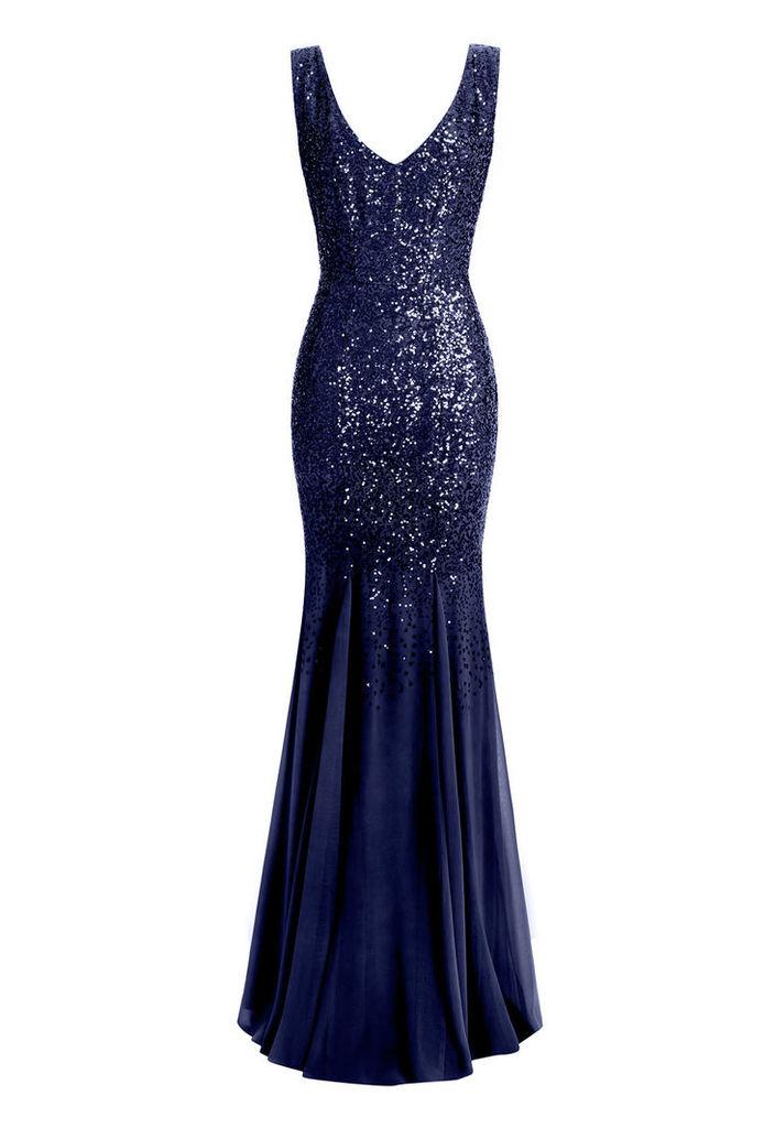 Goddiva Sequin and Chiffon Navy Maxi Dress