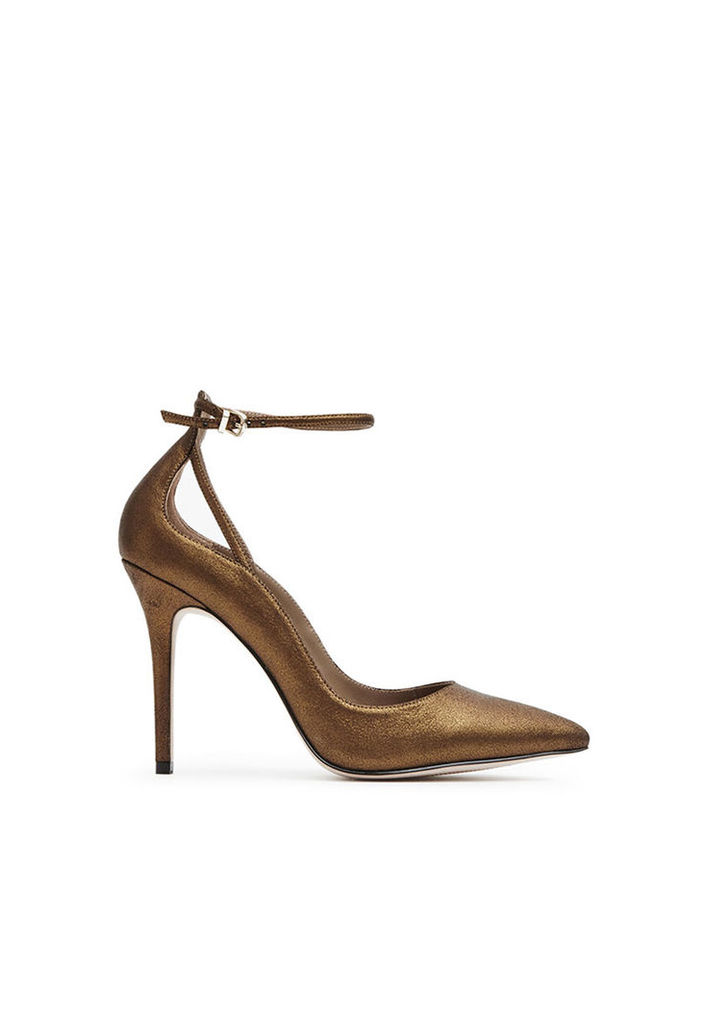 Reiss Leighton Ankle-Strap Shoes in Bronze