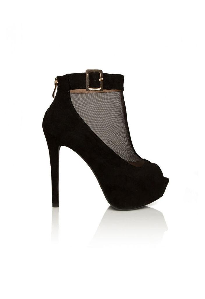 Aftershock London Scarlett Peep Toe Shoe in Black