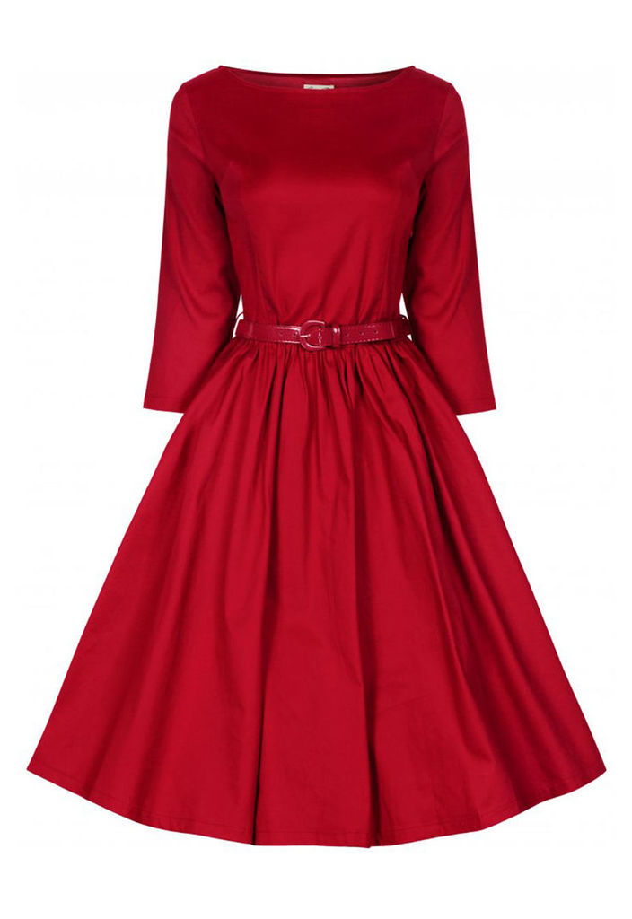 Lindy Bop Holly Swing Dress in Red