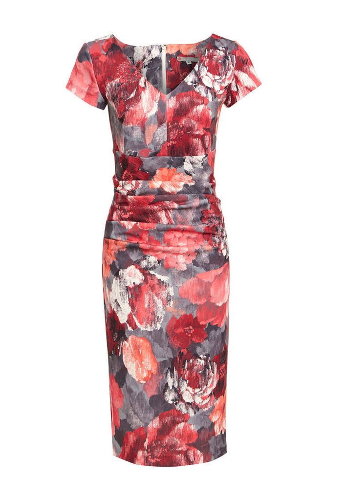 Vanessa Horne The Victoria Floral Dress in Red and Grey