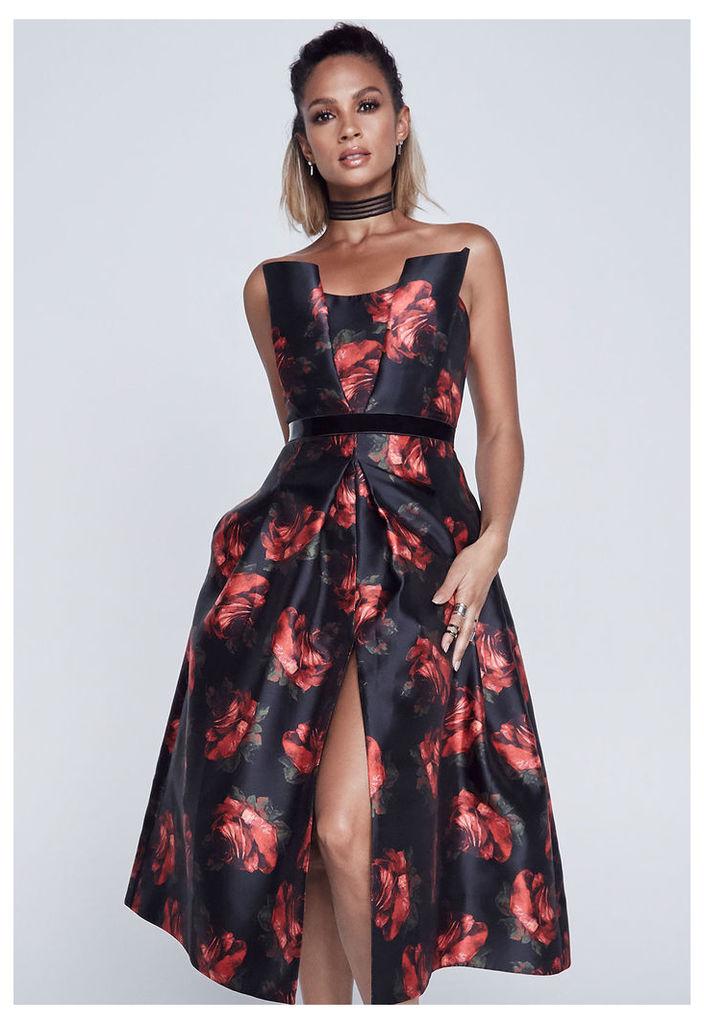 Alesha Dixon Rose Print Bandeau Dress