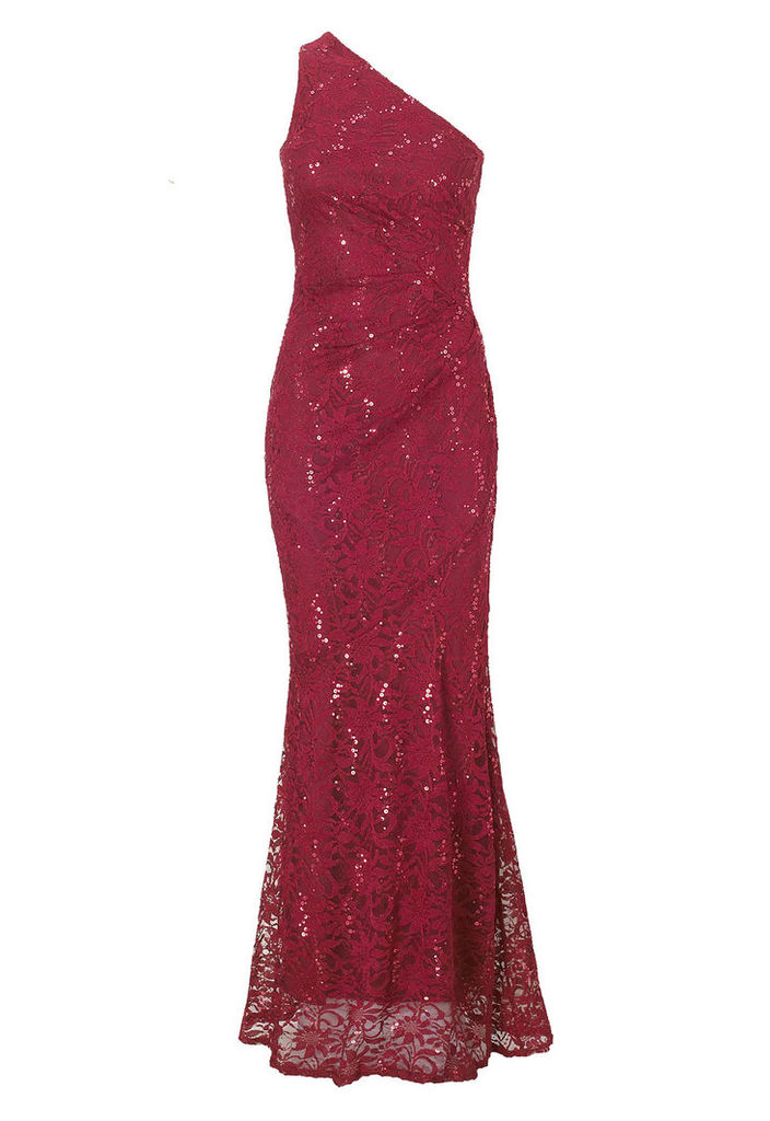 Sistaglam by Lipstick Boutique Alison Embellished Lace One Shoulder Maxi Dress in Berry